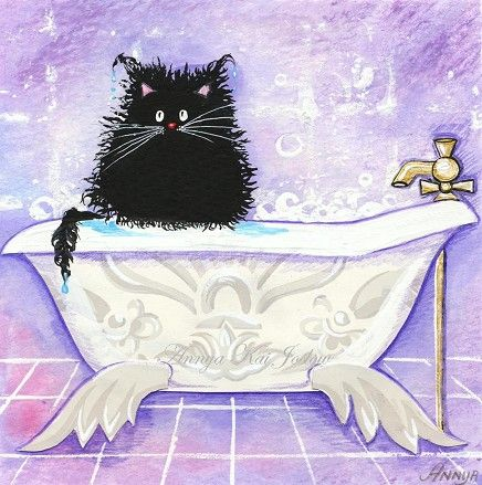 Bad Cat Climbed into Your Bubble Bath by annya127 on Etsy