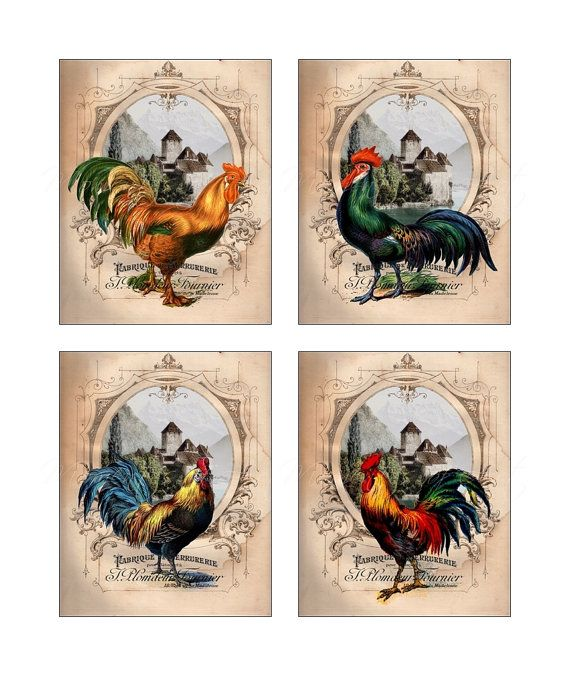 French Country Roosters Gallery Collection Set of 4 Prints, Colorful, Kitchen Art, Country Decor