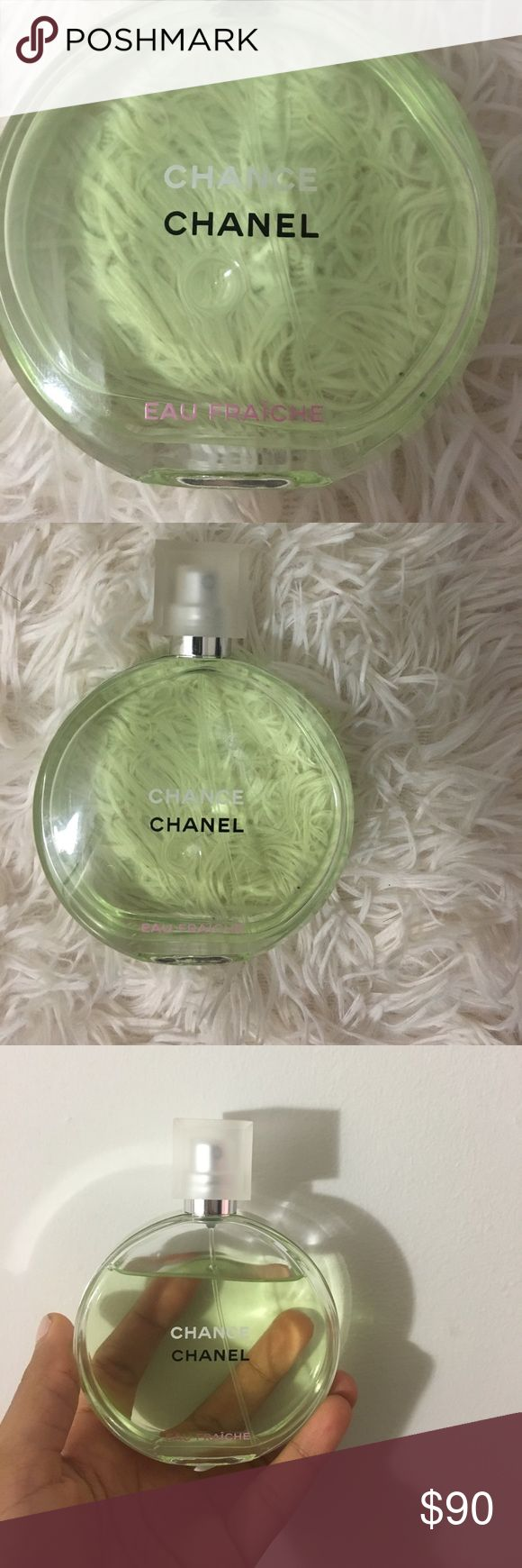 Chanel Chance Perfume CHANCE EAU FRAÎCHE Eau de Toilette 3.4oz not even a quarter of the product was used. ProDuct info: CHANCE Eau FraÎche, a vibrant incarnation of the unexpected fragrance, now takes on a sparkling freshness. The unexpected floral bursts with a lightness and zest as notes of citrus, Water Hyacinth and Jasmine Absolute are highlighted and energized with woody notes of Amber of Patchouli and Fresh Vetiver. AUTHENTIC !!! CHANEL Other