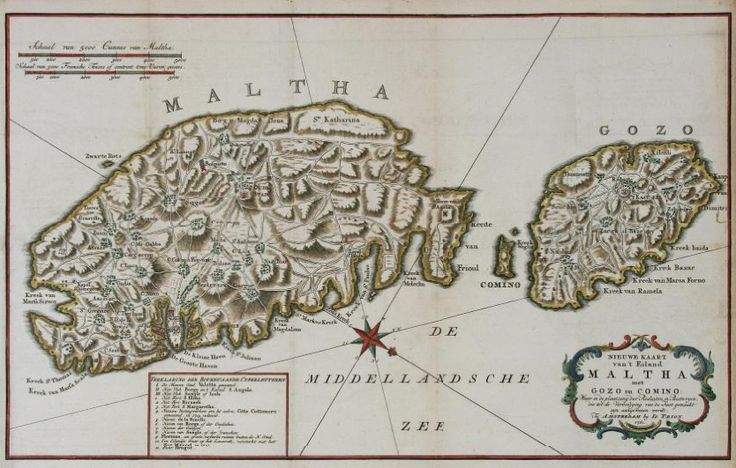 "May 25, #MaltaMapMonday brings us a nice 18th century map by Isaac Tirion, ""Nieuwe Kaart van't Eiland Maltha met Gozo en Comino"" published in Amsterdam in 1761. A decorative cartouche and reference panel are located on the bottom."