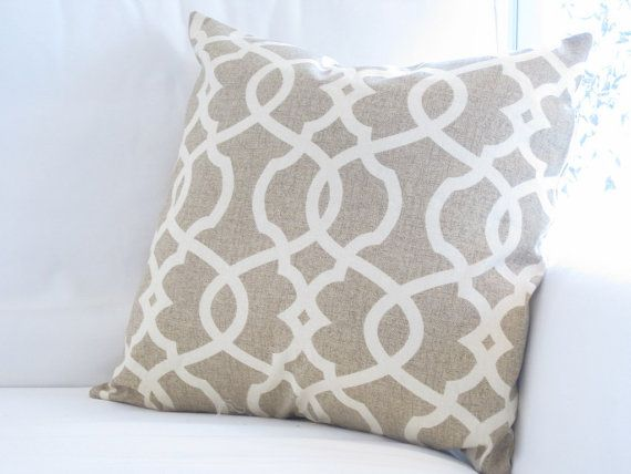 Good Oatmeal Neutral Trellis Lattice Pillow Cover, Chair Pillow, 20x20 Inch Decorative  Pillow, Neutral