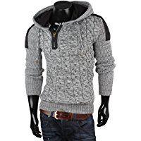 TAZZIO Herren Pullover Grobstrick Zopfmuster Pulli Sweatshirt Strickjacke Jacke