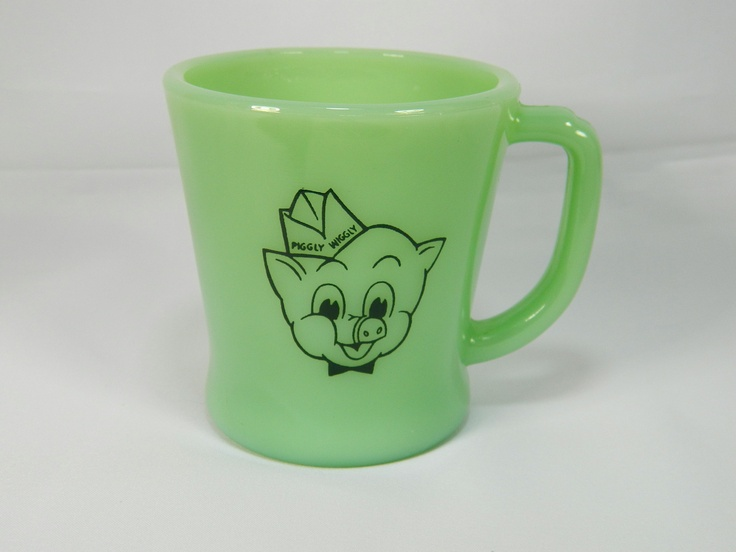 Fire King Jadite Piggly Wiggly Mug Cup Fire-King Hocking Green Mugs Cups Jade