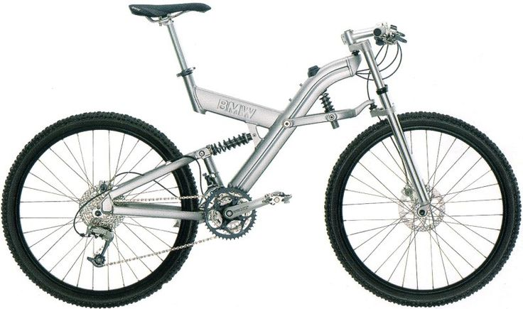 In 2000 BMW introduced a line of stylish folding bikes.  While BMW had a hand in their design, Schauff, a German bicycle company, actually produced the bike.  The BMW Q6.S folding mountain bike shown below was the top of the line and retailed for a fairly pricey $3995.00 USD.  The bike's main innovation was a front Telelever suspension borrowed from BMW's motorcycles.