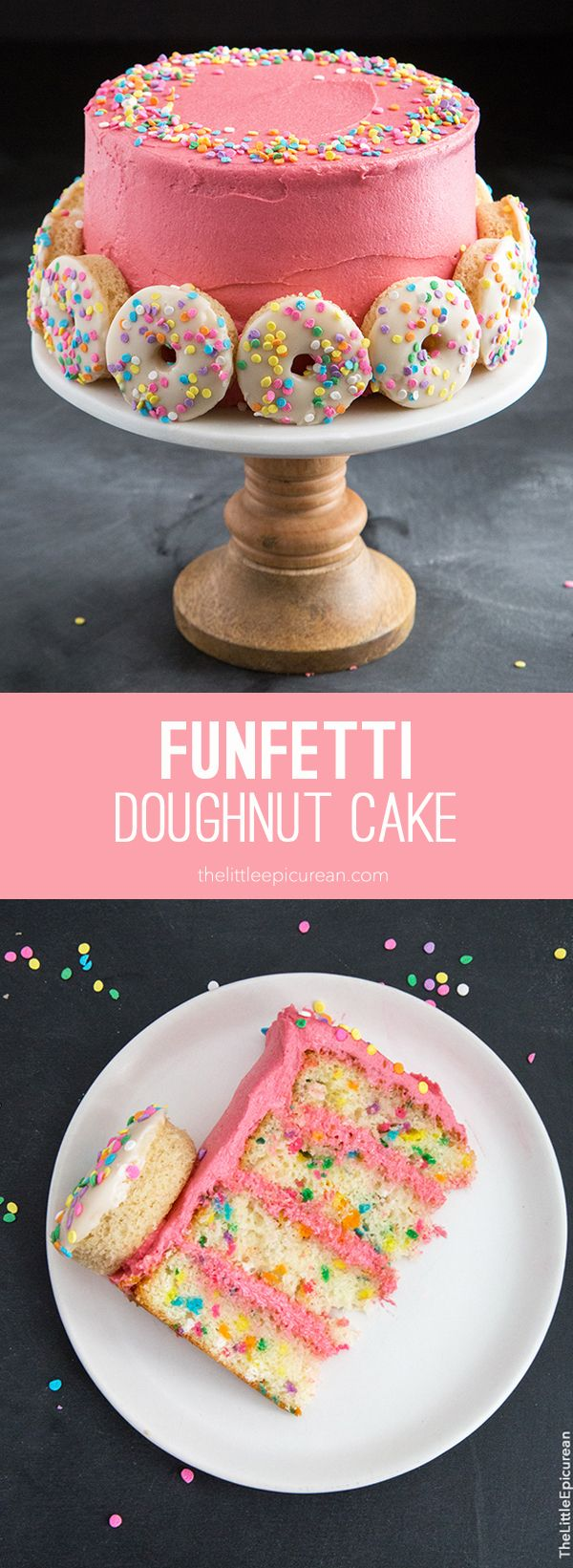 This funfetti doughnut cake basically has everything I could ever want in a dessert: coffee, doughnuts, cake, and whiskey.
