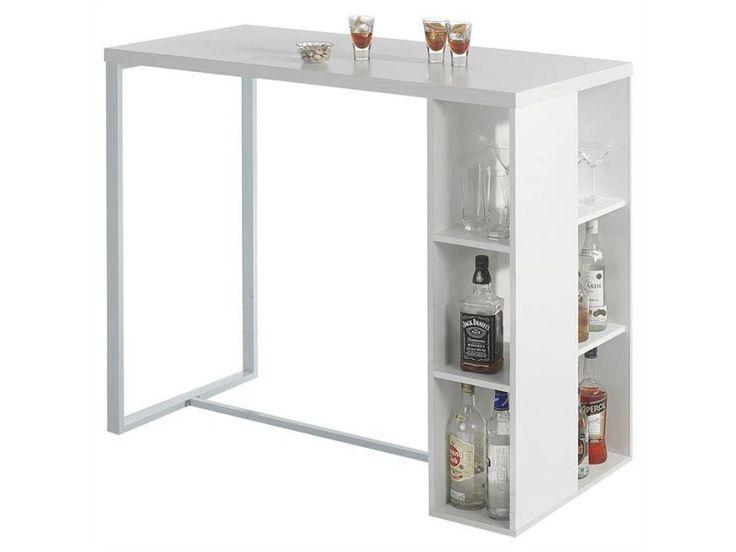 Table haute de bar ibiza mdf décor blanc mat - Vente de Table - Conforama