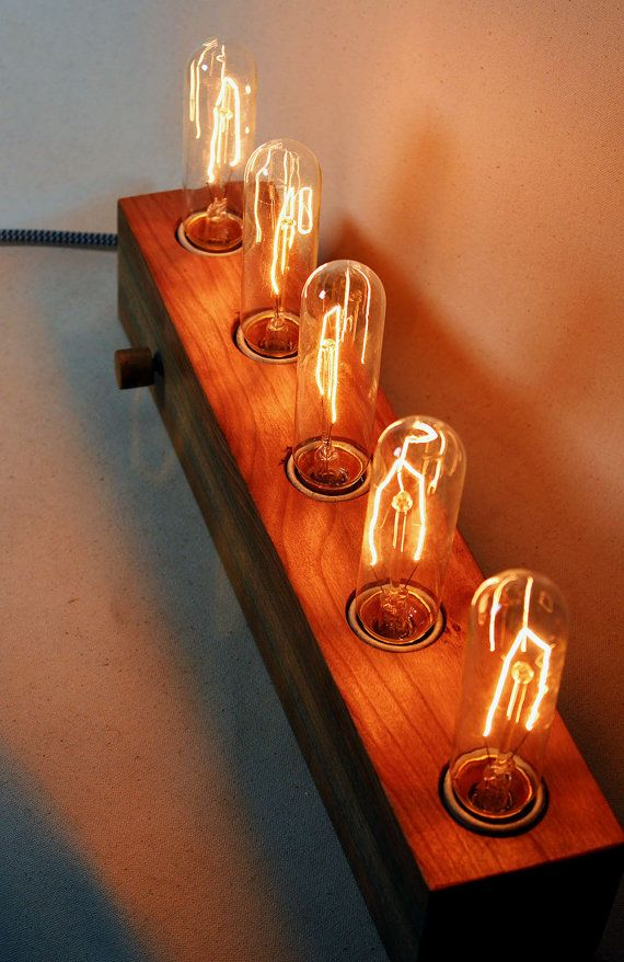 5 bulb wooden Edison lampdesk lamptable by Singulierlampandcab