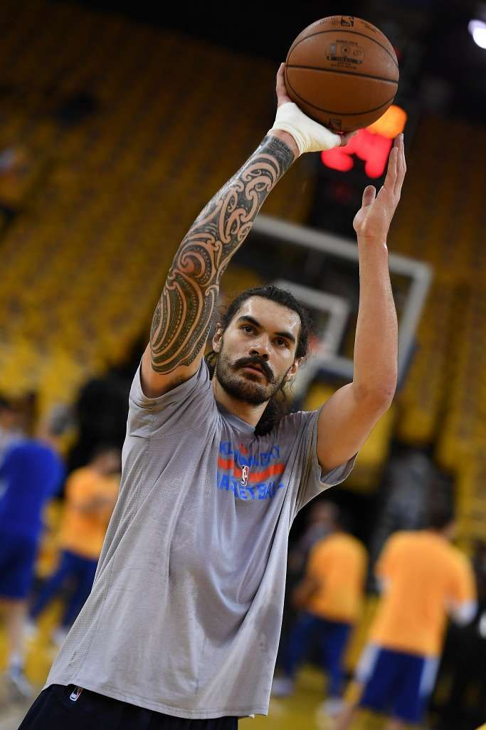 Steven Adams #12 of the Oklahoma City Thunder warms up prior to game two of the Western Conference Finals during the 2016 NBA Playoffs at ORACLE Arena on May 18, 2016 in Oakland, California. (Photo by Thearon W. Henderson/Getty Images)