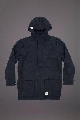 WEMOTO RABBIT JACKET DARK NAVY  WEMOTO A/W 14. Duffle coat with wool felt shell mad from60/40 Wool Acrylic with polyester lining.  http://www.abandonshipapparel.com/product/wemoto-rabbit-jacket-dark-navy/