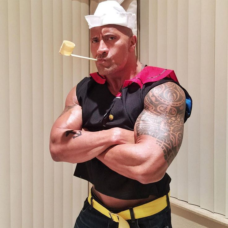 The Rock (Dwayne Johnson) put his muscles to good use and dressed up as Popeye.