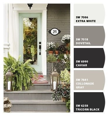 Paint Colors From Chip It! By Sherwin Williams   Dovetail Grey Color For Painted  Brick Exterior And Mint Front Door.