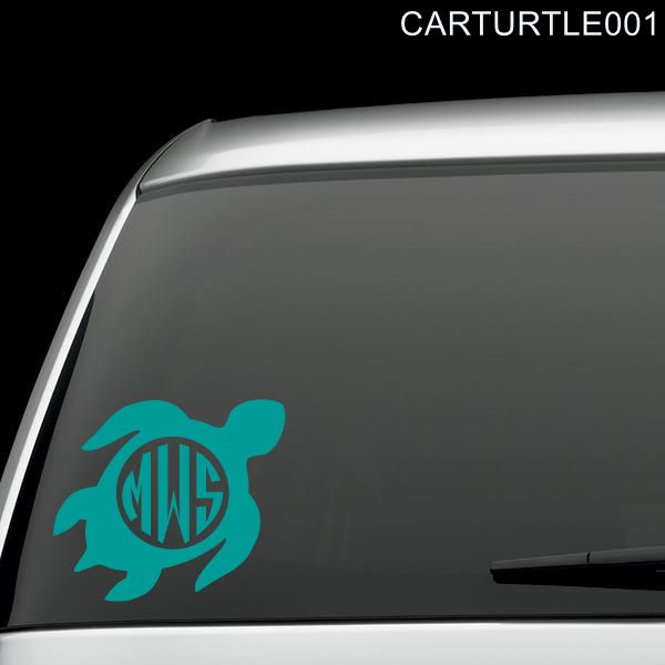 Sea Turtle with Monogram Lettering Car Window Decal