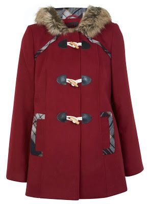Cosy burgundy duffle coat.
