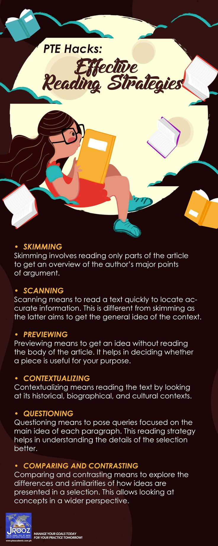 PTE Hacks - Effective Reading Strategies - Aside from attending classes in training institutions, such as the PTE review center in Manila, another way to combat your reading anxiety is to develop reading strategies. Learn more techniques and develop your comprehension and reading skills with JRooz PTE Review Center Philippines.