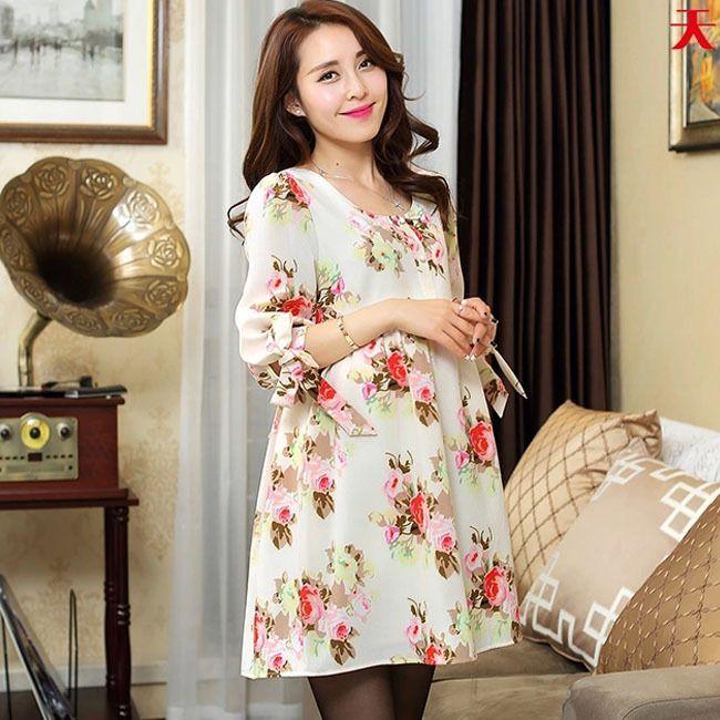 Chiffon Maternity Dresses Clothes For Pregnant Women Cute Print Ladies Pregnancy Clothing Summer Wear Korean Flower Fashion(China (Mainland))