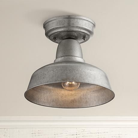 "Urban Barn 10 1/4"" Wide Galvanized Outdoor Ceiling Light"