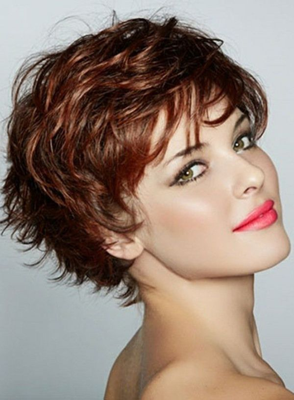 Graceful Short Feathered Pixie Haircut with Wispy Bangs Synthetic Hair Capless