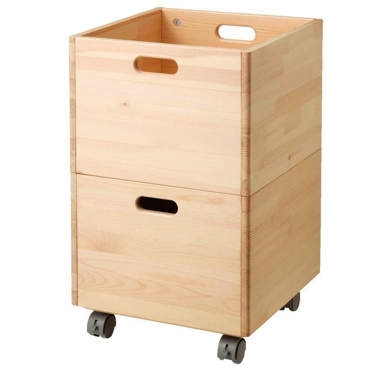パイン材収納BOX・キャスター付き 幅35×奥行き35×高31cm | 無印良品ネットストア
