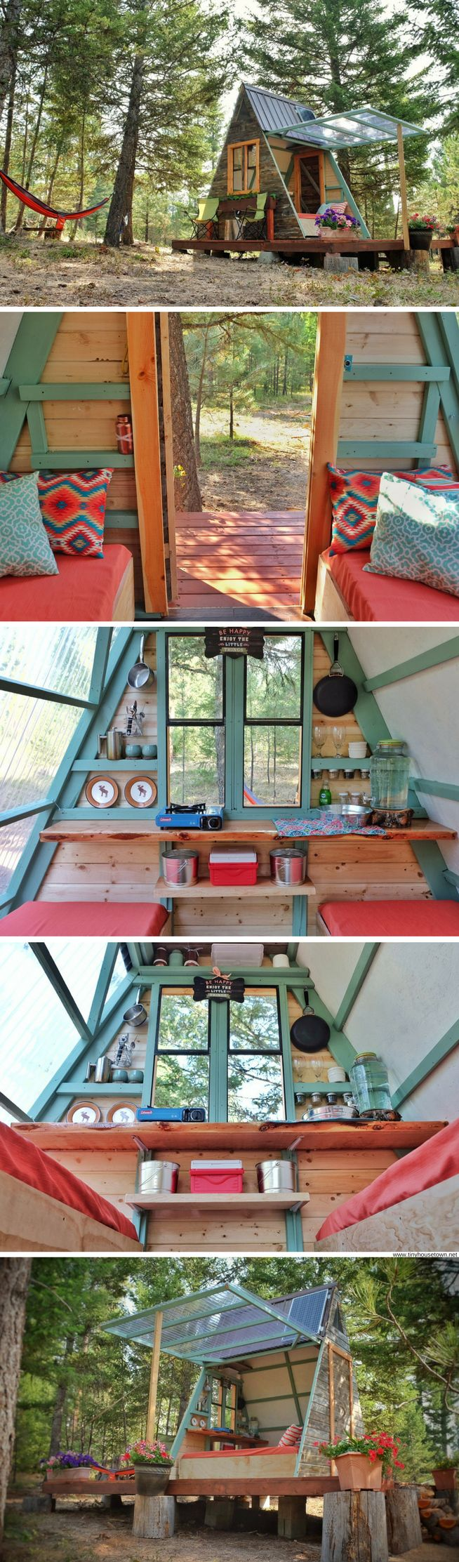 An A-frame cabin that was built for just $700!  perfect little clubhouse for kiddos!