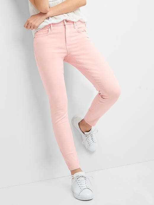 eefe682ce0 Gap Womens Mid Rise True Skinny Ankle Color Jeans Soft Pink ...