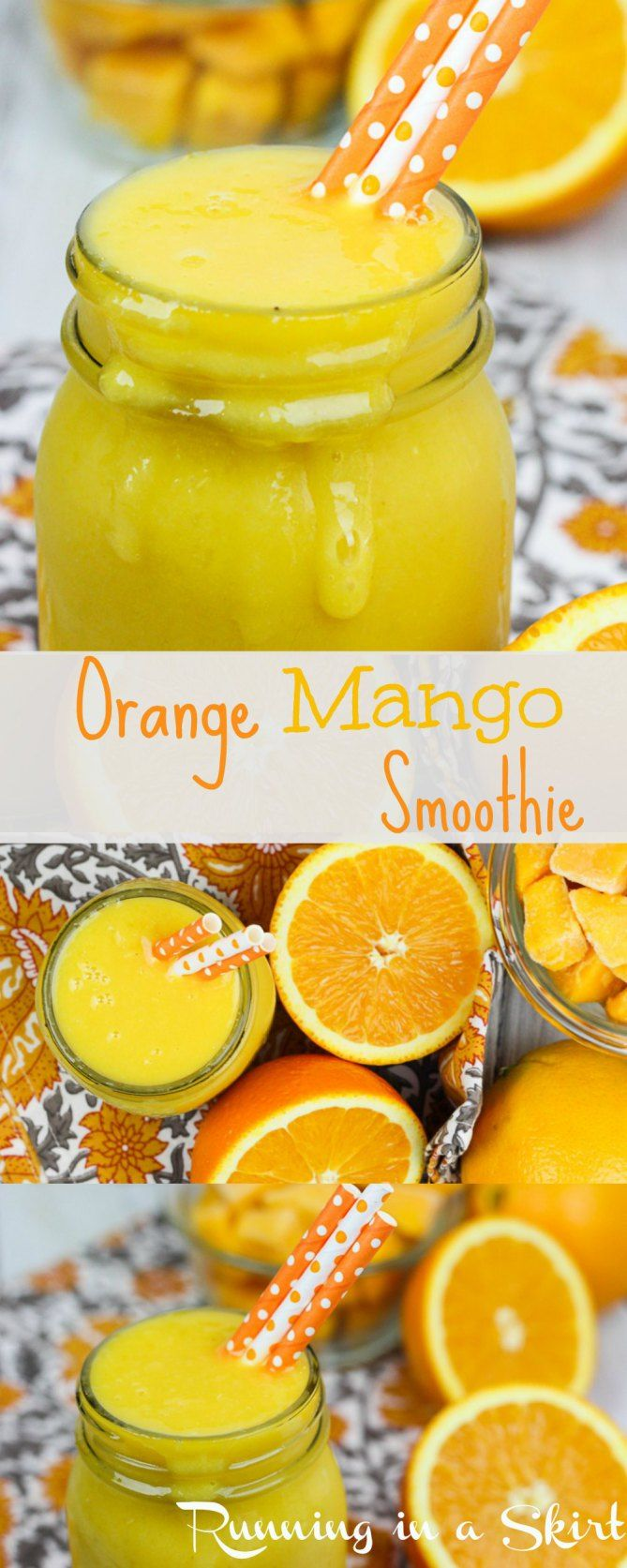 Sunshine in a cup!  Healthy Orange Mango Smoothie Recipe.  Smooth vegan smoothie with fruit including banannas.  Only 4 ingredients!  | Running in a Skirt