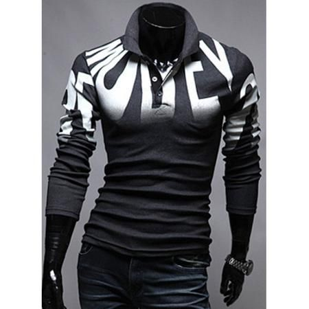 Turn-Down Collar Letters Print Design Long Sleeve Men's Polo T-Shirt