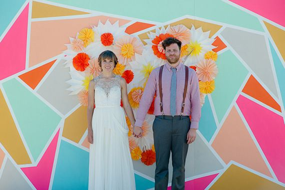 Colorful geometric backdrop | Event design by Pow Wow Events | Photo by John Newsome Photography | Read more -  http://www.100layercake.com/blog/?p=66719