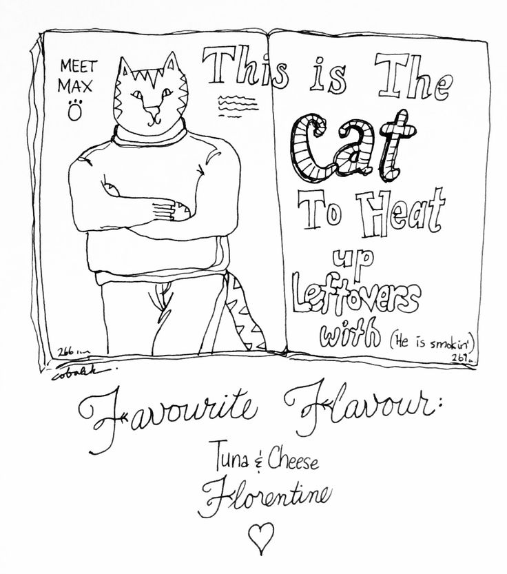 Black and white illustration of a cat in a sweater.  Magazine spread style.  Just because.  (By Christy Obalek)