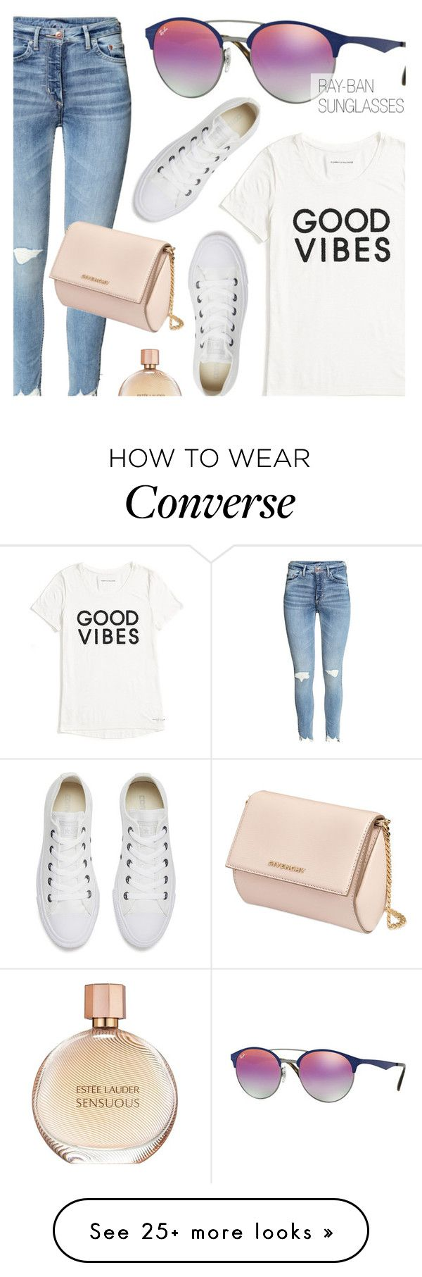"""""""Good Vibes"""" by smartbuyglasses on Polyvore featuring Ray-Ban, Tommy Hilfiger, Converse, Givenchy, Estée Lauder, sunglasses and rayban"""