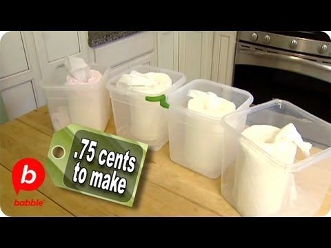 1 roll good quality paper towels, cut in half.  Place in container and pour over one recipe below.  Remove cardboard tube from center and cover.    Cleaning wipes:  1/2 c bleach, 2 1/2 c water    Glass cleaning wipes: 2 c water, 1/2 c rubbing alcohol, 1/2 c vinegar