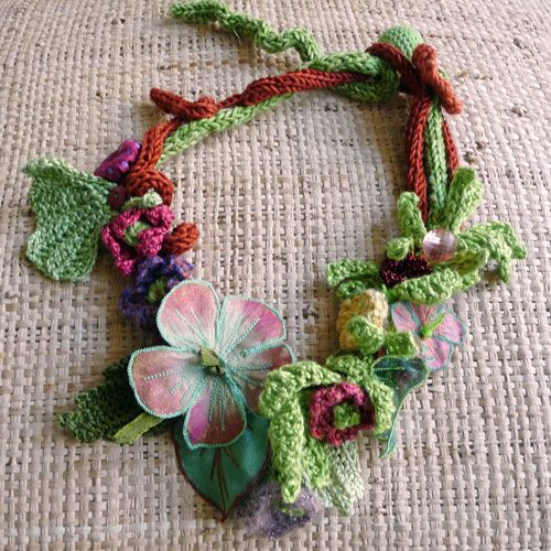 knit and crochet necklace