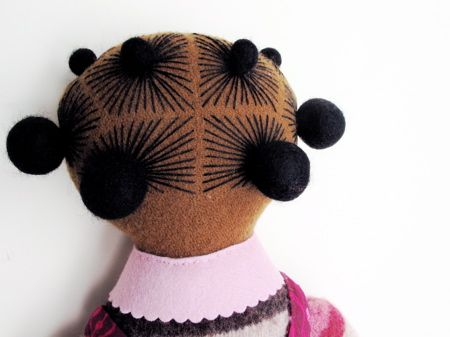 mimi kirchner doll | hair knot embroidery detail