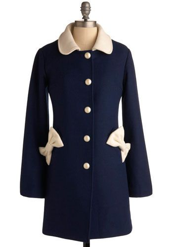 I love this coat!  sold out :(Fashion Phile, Fashion Temptationsss, Fall Style, Adorable Coats, Fashion Design, Bows Coats, Fashion Inspiration, Blue Coats, Navy Blue