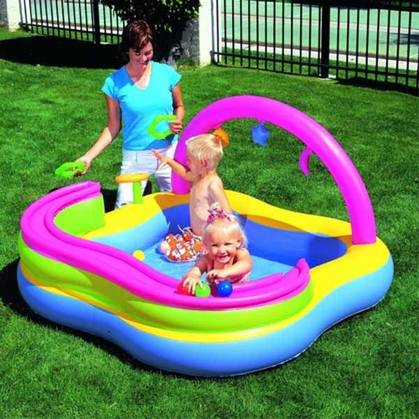 Piscina Gonfiabile Play Center Bambini Con Giochi 159 X 159 X 89