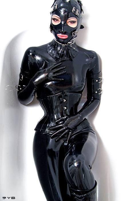 Black fully enclosed latex kigurumi - 4 6