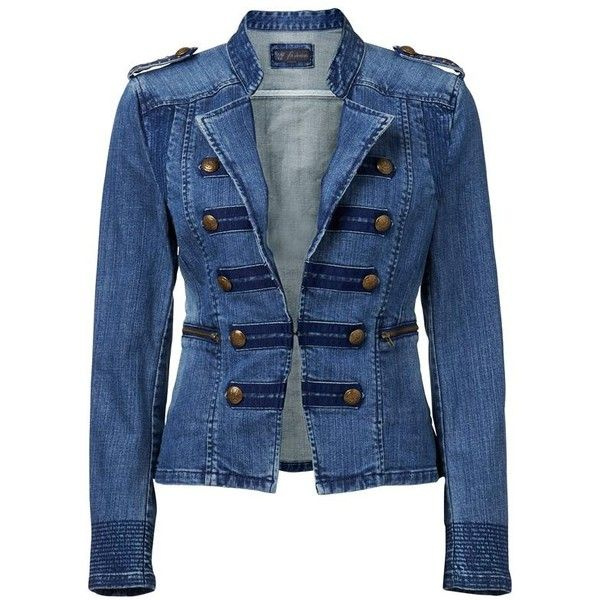 Forever New Mulan military jacket ($56) ❤ liked on Polyvore featuring outerwear, jackets, coats, blazers, chamarras, mid wash, denim jacket, military jacket, blue jackets and blue field jacket