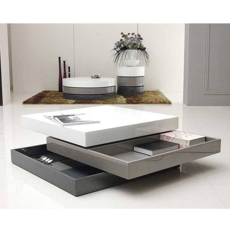 Table basse carrée 3 plateaux pivotants laqué L90xl90xH30cm COOL port offert