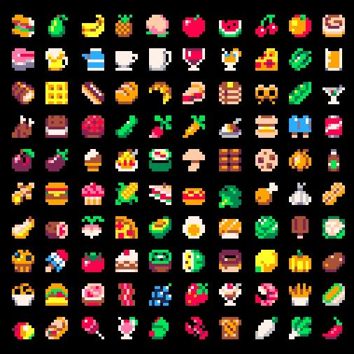Here's 100 8x8 food & drink sprites using the #PICO8 palette.