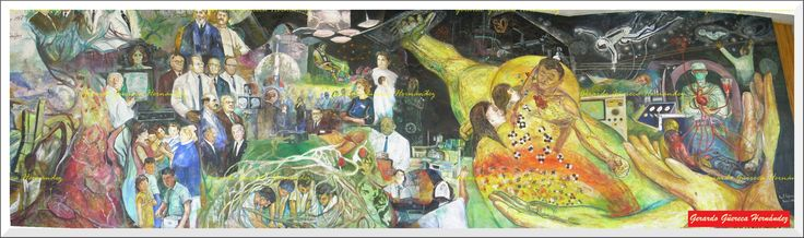 "Fragment of the mural of the master painter Raúl Esparza ""History of the Medicine"" that is conserved in the Faculty of Medicine.  (Fragmento del mural del Maestro pintor Raúl Esparza ""Historia de la Medicina"" que se conserva en la Facultad de Medicina)."