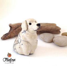 Labrador blanc crème  - chien en céramique raku