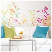 "Riviera Giant Appliques    Dimensions :: 2 sheets: (18"" x 40"") + (9"" x 40"") - 14 Elements per pack    Add a splash of color to any room with these vibrant graphic branches. This spring-inspired design is suitable for a wide variety of rooms: living areas, kitchens, dens, bedrooms... even bathrooms and offices! Create your own custom configuration at your own pace—our repositionable elements allow you to experiment as much as you want without damaging the wall or the decals."