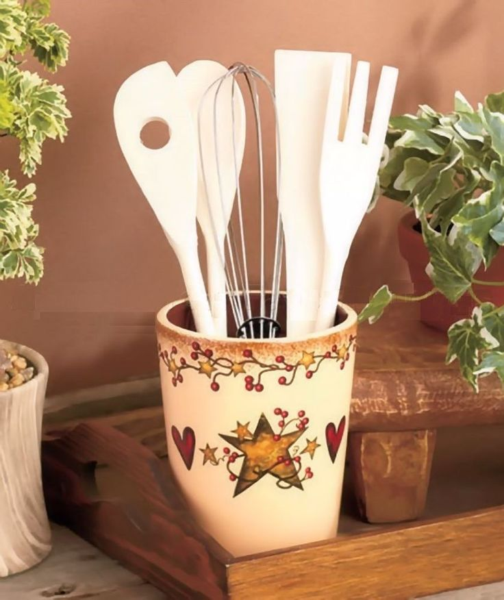 Country Primitive Heart Star Berry Utensil Crock Holder Organizer Kitchen Decor
