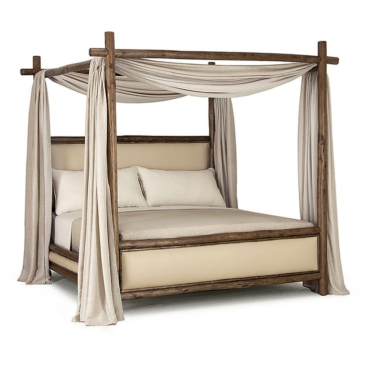 Rustic Canopy Bed 4540 4546 Traditional, Transitional, Rustic Folk, Organic, Wood, Upholstery Fabric, Bed by La Lune Collection