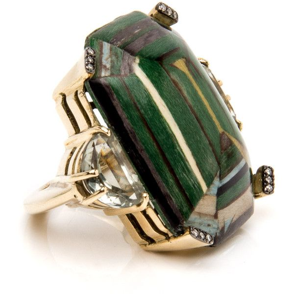 Green Marquetry and Prasiolite Gem Ring ($5,000) ❤ liked on Polyvore featuring jewelry, rings, gemstone jewellery, green quartz jewelry, green quartz ring, gemstone rings and green jewelry