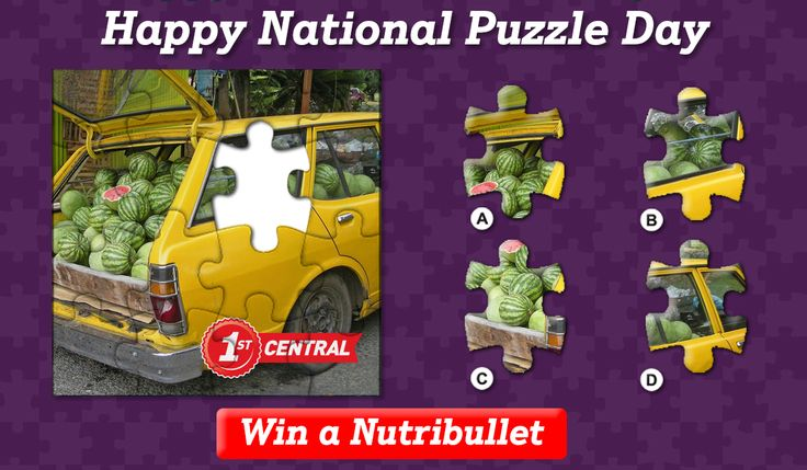 To celebrate National Puzzle Day on Sunday we're giving one lucky person the chance to #win a #Nutribullet. All you need to do is correctly identify the missing puzzle piece. Entries close at midnight on Tuesday. Good luck! T&Cs: http://1stcentral.co/2k6szhu