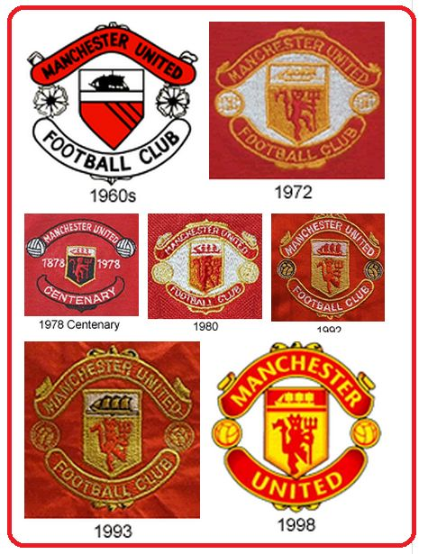 Manchester United crests over the years
