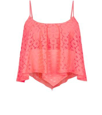 a461ddd1391 Neon Pink Daisy Lace Hanky Hem Crop Top | For my girl in 2019 | Tops, Crop  tops, Fashion