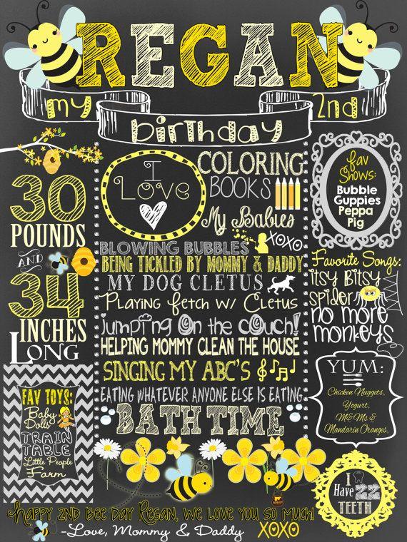 Little Bumble Bee Birthday Chalkboard, Bumblebee Themed Party Decoration,  Bee Day, Happy Bee Day Custom Chalkboard!