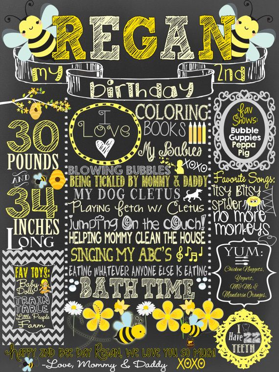 Little Bumble Bee birthday chalkboard 1st by CustomPrintablesNY
