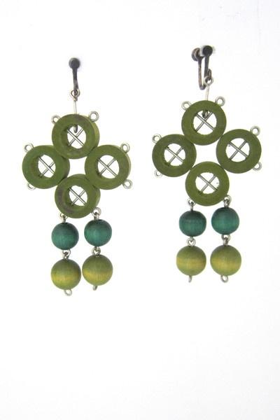 aarikka, Finland - great vintage multi greens drop earrings